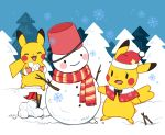 blue_sky blush_stickers bucket bucket_on_head closed_eyes flag flat_color hat no_humans object_on_head open_mouth outdoors pikachu pokemon santa_hat scarf sky smile snow snowflakes snowman tree winter zrae