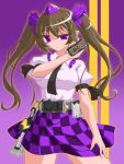 1girl bad_id belt black_wings bow brown_hair cellphone checkered checkered_skirt crossover female hair_bow hat henshin henshin_pose highres himekaidou_hatate kamen_rider kamen_rider_555 kamen_rider_kaixa necktie parody phone rider_belt skirt solo touhou tsukushi_(741789) twintails violet_eyes weapon wings