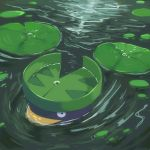 lake lily_pad looking_at_viewer lotad no_humans partially_submerged pokemon pokemon_(creature) solo tesshii_(riza4828) water