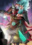 2boys adjusting_goggles aqua_hair back_to_the_future beard character_request delorean ekko_(league_of_legends) eyebrows facial_hair floating_hair goggles goggles_on_head highres kuma_x league_of_legends mohawk multiple_boys parody pink_eyes silver_hair sword time_machine watch weapon zilean