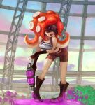 1girl armor belt bike_shorts boots fingerless_gloves gloves goggles long_hair mask octarian octopus open_mouth plant redhead satarou splatoon super_soaker takozonesu tentacle_hair