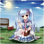 1girl bench blue_dress blue_hair blue_sky blush bowtie box cat_print choker dress frills gloves grass hair_ribbon highres midna01 mud original outdoors parted_lips ribbon rugby_ball see-through short_sleeves sky smile solo sun twintails violet_eyes waving white_gloves wrist_cuffs