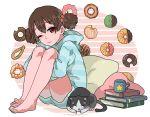 1girl barefoot book brown_eyes brown_hair casual cat cup doughnut food highres k-on! mug pillow short_hair suzuki_jun twintails yuuho