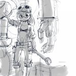 1girl baggy_shorts belt bra cap engineer glasses goggles mecha monochrome navel nyanko_daisensou open_clothes ponytail robot saionji_mekako shorts sketch solo stup-jam underwear wrench