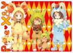 1boy 2girls animal_ears argyle argyle_background bangs blonde_hair boots bow brown_eyes brown_hair calme_(pokemon) carrying character_hood chespin chibi closed_mouth copyright_name fennekin froakie green_eyes hat heart hoodie long_hair looking_at_viewer multiple_girls nose_bubble one_eye_closed pokemon pokemon_(creature) pokemon_(game) pokemon_xy red_eyes sana_(pokemon) serena_(pokemon) sleeping smile standing swept_bangs tail twintails uppi