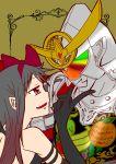 1boy 1girl akemi_homura akuma_homura armor creator_connection crossover face-to-face female food fruit helmet highres kamen_rider kamen_rider_gaim kamen_rider_gaim_(series) mahou_shoujo_madoka_magica male pointy_ears