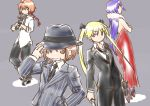alternate_costume bare_shoulders blonde_hair brown_hair dress evening_gown fedora formal gangster gloves goshiki_agiri gun hat kill_me_baby kogaku_kazuya long_hair mafia multiple_girls necktie oribe_yasuna scarf short_hair sonya_(kill_me_baby) suit unused_character weapon
