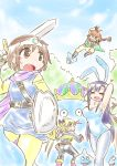 animal_ears bunnysuit cosplay dragon_quest dragon_quest_iii fighter_(dq3) fighter_(dq3)_(cosplay) goshiki_agiri kicking kill_me_baby king_slime kogaku_kazuya long_hair multiple_girls oribe_yasuna rabbit_ears roto_(cosplay) sage_(dq3) shield slime sonya_(kill_me_baby) sword thief_(dq3) unused_character weapon