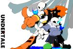 2boys armor bone brothers copyright_name glowing glowing_eye heart hoodie multiple_boys papyrus_(undertale) pointing sans scarf shorts siblings skeleton slippers t_clocks tagme undertale white_background