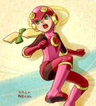1girl blonde_hair bodysuit boots gloves green_eyes helmet long_hair open_mouth pink_boots rockman rockman_exe roll_exe solo