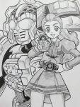 1girl armor crossover female helmet hijikata_etsuo kamen_rider kamen_rider_gaim_(series) kamen_rider_knuckle lock_seed milky_rose mimino_kurumi namesake parody precure rider_belt school_uniform sengoku_driver sketch solo yes!_precure_5