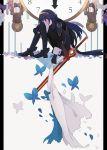 1girl armor blue_hair blush cape falchion_(fire_emblem) fingerless_gloves fire_emblem fire_emblem:_kakusei flower gloves highres long_hair lucina ryuucae solo sword tiara weapon