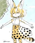 1girl animal_ears artist_name bare_shoulders blonde_hair bow bowtie commentary dress elbow_gloves extra_ears gloves hair_between_eyes highres kemono_friends outstretched_arms panzuban print_gloves print_neckwear print_skirt serval_(kemono_friends) serval_ears serval_print serval_tail shirt short_hair skirt sleeveless sleeveless_dress solo spread_arms tail twitter_username white_shirt wind