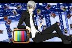 card grey_hair narukami_yuu persona persona_4 smile solo