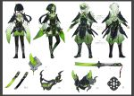 1boy 1girl armor black_hair character_sheet contrapposto cyberpunk full_body green_eyes green_hair green_theme harusatonougyou highres horn japanese_armor katana knife kunai long_hair looking_at_viewer mask menpoo ninja original pale_skin ponytail reverse_grip samurai shoulder_armor sword thigh-highs translation_request weapon