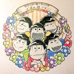 6+boys black_hair brothers chin_rest flower heart heart_in_mouth highres hood hoodie looking_at_viewer male_focus marker_(medium) matsuno_choromatsu matsuno_ichimatsu matsuno_juushimatsu matsuno_karamatsu matsuno_osomatsu matsuno_todomatsu multiple_boys osomatsu-kun osomatsu-san raglan_sleeves sextuplets siblings tanako_(love-soldier) traditional_clothes traditional_media v waving wreath