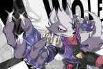 1boy claws eyepatch furry jacket looking_at_viewer male_focus red_eyes smile solo star_fox super_smash_bros. wolf wolf_o'donnell
