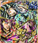 2boys ashiya_kouhei black_hair blue_hair bruno_bucciarati colorful electricity headband jojo_no_kimyou_na_bouken joseph_joestar_(young) marker_(medium) multiple_boys official_style purple_hair stand_(jojo) sticky_fingers_(stand) traditional_media