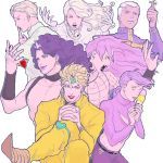black_lipstick blonde_hair cross crossed_legs dark_skin diavolo dio_brando earrings enrico_pucci finger_to_mouth funny_valentine gloves green_lipstick hands_clasped headband horns ice_cream_cone jewelry jojo_no_kimyou_na_bouken kira_yoshikage knee_pads lipstick long_hair makeup mandaman necklace_removed pink_hair pointy_shoes purple_hair red_lipstick red_stone_of_aja ribbed_sweater shoes steel_ball_run sweater vinegar_doppio white_gloves white_hair