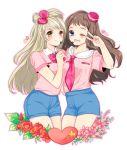 2girls blonde_hair blue_eyes bow brown_eyes brown_hair crossover flower hair_bow hat headset heart keomi_syeon kyoukai_no_kanata love_live!_school_idol_project minami_kotori multiple_girls neckerchief one_eye_closed open_mouth shindou_ai short_shorts shorts smile v