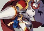 1boy armor belt brown_hair cape clenched_hands copyright_name digimon digimon_tamers dukemon goggles goggles_on_head grey_pants hajime_(hajime-ill-1st) helmet hoodie horns knight lance matsuda_takato monster pants polearm red_cape red_eyes shield short_hair shoulder_pads weapon wristband yellow_eyes