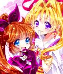 2girls blonde_hair blue_eyes bow brown_hair curly_hair finger_to_mouth fuyoku_fuu gloves hair_bow hair_intakes haneoka_meimi kaitou_jeanne kaitou_saint_tail kamikaze_kaitou_jeanne kusakabe_maron long_hair magical_girl multiple_girls ponytail purple_bow purple_gloves saint_tail smile trait_connection violet_eyes white_gloves