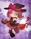 1girl adjusting_clothes adjusting_hat argyle argyle_background boots broom broom_riding english gloves green_eyes halloween hat ningukt octarian paint_splatter purple_background redhead skirt solo splatoon takozonesu witch_hat