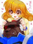 1boy 1girl brown_eyes corrector_yui curly_hair kasuga_yui mukki orange_hair school_uniform short_hair synchro_(corrector_yui) translated werewolf