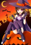 1girl bat brown_hair cape female gloves halloween hat jack-o'-lantern kk-sk-ray long_hair original solo thigh-highs violet_eyes witch witch_hat