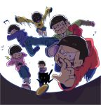 +_+ /\/\/\ 6+boys anger_vein backlighting brothers cat choromatsu coin drop_kick fisheye heart heart_in_mouth hoodie ichimatsu jitome jumping jyushimatsu karamatsu kicking male_focus messy_hair multiple_boys osomatsu-kun osomatsu-san osomatsu_(osomatsu-kun) pointing pushing running sextuplets shaded_face siblings sleeves_past_wrists speed_lines sunglasses sunglasses_removed sweat todomatsu yen