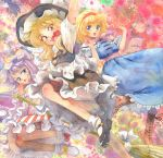 3girls :< alice_margatroid apron blonde_hair bloomers blue_dress blue_eyes boots broom capelet coat crescent cross-laced_footwear dress graphite_(medium) hairband hat inkblot kirisame_marisa long_sleeves looking_at_viewer misawa_hiroshi mob_cap multiple_girls open_clothes open_coat open_mouth patchouli_knowledge puffy_short_sleeves puffy_sleeves purple_hair sash shirt short_sleeves skirt skirt_set smile striped striped_dress touhou traditional_media underwear upskirt vest violet_eyes waist_apron watercolor_(medium) wide_sleeves witch_hat yellow_eyes