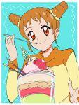 1girl aikatsu! arisugawa_otome brown_eyes brown_hair eating food fruit highres ice_cream long_sleeves makacoon parfait smile solo strawberry