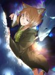 1girl ;p absurdres animal_ears blue_eyes brown_eyes brown_hair cat_ears dragon glasses glowing glowing_eyes highres lantern magnifying_glass one_eye_closed original scales short_hair smile tongue tongue_out