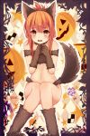 animal_ears bare_shoulders blush boots brown_eyes brown_hair fake_animal_ears folded_ponytail fox_ears fox_tail fur_boots fur_gloves halloween highres inazuma_(kantai_collection) kantai_collection long_hair open_mouth qunqing sitting tail