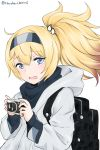 1girl alternate_costume alternate_hairstyle backpack bag blonde_hair blue_eyes camera gambier_bay_(kantai_collection) hairband highres hooded_coat kantai_collection long_hair multicolored_hairband open_mouth ponytail simple_background solo twitter_username umino_haruka_(harukaumino6) upper_body white_background white_coat