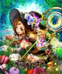 1girl aqua_eyes bell_pepper bending_forward blonde_hair cauliflower detached_sleeves flask flower food fruit hat hat_flower hat_ornament lan_feng lettuce long_hair looking_at_viewer mandarin_orange metal_bra one_eye_closed onion open_mouth pepper potion shingeki_no_bahamut solo squash staff tree witch_hat wrist_cuffs