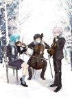 background cello chair formal ikari_shinji instrument looking_down nagisa_kaworu neon_genesis_evangelion ni-co niko_(silent.whitesnow) red_hair scarf silver_hair snow suit violin