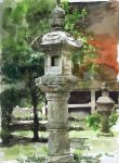 misawa_hiroshi no_humans original scenery shrine stone_lantern traditional_media watercolor watercolor_(medium)