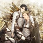 2boys ascot black_hair blonde_hair irvin_smith jacket levi_(shingeki_no_kyojin) multiple_boys shingeki_no_kyojin shiro_sss926