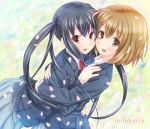 2girls blush brown_eyes brown_hair cherry_blossoms female happy hirasawa_yui hug k-on! kisaragi_miyu long_hair multiple_girls nakano_azusa petals school_uniform short_hair skirt smile twintails yuri