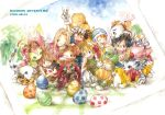 biyomon digimon digimon_adventure egg everyone gabumon gomamon ina_(gonsora) ishida_yamato izumi_koushirou kido_jou kido_jyou palmon patamon photo photo_(object) piyomon red_beak tachikawa_mimi tailmon takaishi_takeru takenouchi_sora tentomon traditional_media watercolor_(medium) yagami_hikari yagami_taichi