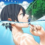 bangs black_hair blue_eyes blue_sky clouds crossover fence flower free! from_side hana_bell_forest kiss looking_at_another male_focus nanase_haruka_(free!) parted_lips partially_submerged pikmin_(creature) pool short_hair sitting_on_hand sky string_of_flags surprised trait_connection tree water wet_hair