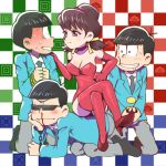 1girl 3boys all_fours black_hair blood bloodshot_eyes boots bowl_cut brothers brown_hair checkered checkered_background chin_rest choker choromatsu closed_eyes crossed_legs cuffs dominatrix drooling formal hairband handcuffs karamatsu kneeling leotard lowres matching_outfit multiple_boys nosebleed osomatsu-kun osomatsu-san osomatsu_(osomatsu-kun) rope short_twintails siblings sitting sitting_on_person smile suit sunglasses thigh-highs thigh_boots totoko_(osomatsu-kun) twintails