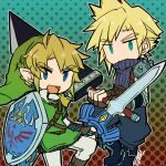 2boys baggy_pants belt blonde_hair blue_eyes boots chainmail chibi cloud_strife earrings final_fantasy final_fantasy_vii fingerless_gloves gauntlets gloves jewelry link male_focus multiple_boys no_nose open_mouth pants pointy_ears shield sleeveless sleeveless_turtleneck smile spiky_hair sunagimo_(nagimo) super_smash_bros. suspenders sword the_legend_of_zelda the_legend_of_zelda:_twilight_princess tunic turtleneck weapon