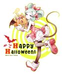 1girl aqua_hair bare_shoulders bat beta_(inazuma_eleven) black_legwear candy cosplay dated disney english gloves gz_(gzxd) halloween happy_halloween inazuma_eleven_(series) inazuma_eleven_go inazuma_eleven_go_chrono_stone jack-o'-lantern lollipop looking_back minnie_mouse minnie_mouse_(cosplay) mouse_tail no_pupils pantyhose polka_dot_skirt simple_background skirt smile solo swirl_lollipop tail twitter_username violet_eyes white_background wrist_cuffs