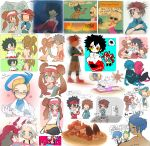 akuroma_(pokemon) alternate_costume beach blush brown_hair corn_(pokemon) crying dent_(pokemon) double_bun eevee glasses gloves gym_leader highres homika_(pokemon) hue_(pokemon) ichigo-tan knife kyouhei_(pokemon) leggings mei_(pokemon) multiple_boys multiple_girls ocean pantyhose pokemon pokemon_(creature) pokemon_(game) pokemon_bw pokemon_bw2 raglan_sleeves scolipede shizui_(pokemon) short_hair sketch sleeping solrock swimsuit touko_(pokemon) touya_(pokemon) twintails visor_cap white_hair