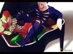 2boys fur_hat green_hair hat instrument jojo_no_kimyou_na_bouken multiple_boys narciso_anasui piano rena_(renasight) weather_report