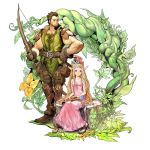 1boy 1girl artist_request bare_arms bare_shoulders beard blonde_hair boots bow brown_eyes brown_hair character_request copyright_request dress facial_hair gloves hair_ornament highres holding long_hair pink_dress pointy_ears rod sandals serious sitting sleeveless smile standing toes tree_stump vines