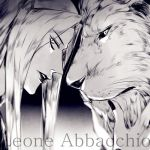1boy character_name greyscale jojo_no_kimyou_na_bouken leone_abbachio lion lowres monochrome profile rena_(renasight)