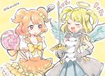 2girls :o blonde_hair blue_skirt blush bow brown_hair candy closed_eyes cowboy_shot earrings gloves hair_ornament halo jewelry lollipop multiple_girls orange_skirt otoca_doll prid_(otoca_doll) rapier red_eyes shinoasa short_hair skirt smile star star_earrings star_hair_ornament sunny_(otoca_doll) swirl_lollipop sword twitter_username two_side_up weapon white_gloves yellow_background yellow_bow